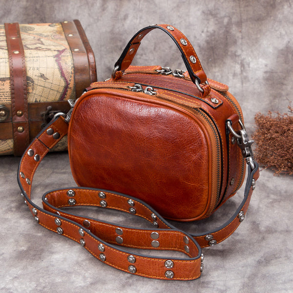 Genuine Leather Vintage Handbag Crossbody Shoulder Bags Purses Women Coffee