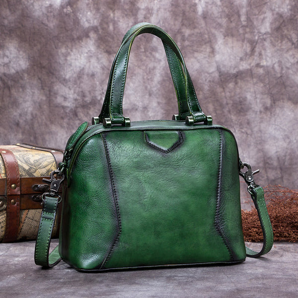 Genuine Leather Vintage Handbag Crossbody Shoulder Bags Purses Women Green