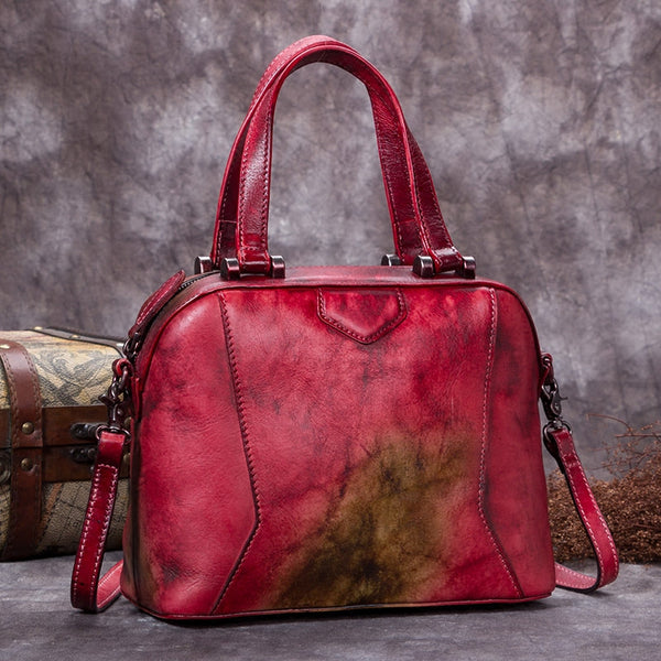 Genuine Leather Vintage Handbag Crossbody Shoulder Bags Purses Women Red