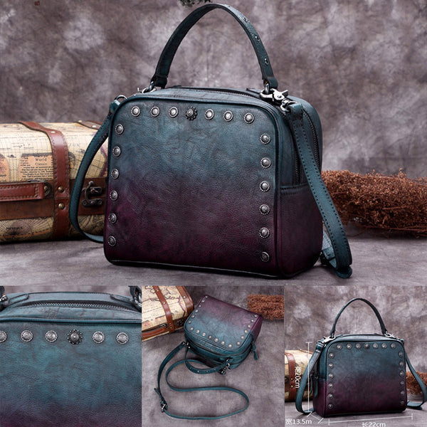 Genuine Leather Vintage Handbag Crossbody Shoulder Bags Purses Women Unique