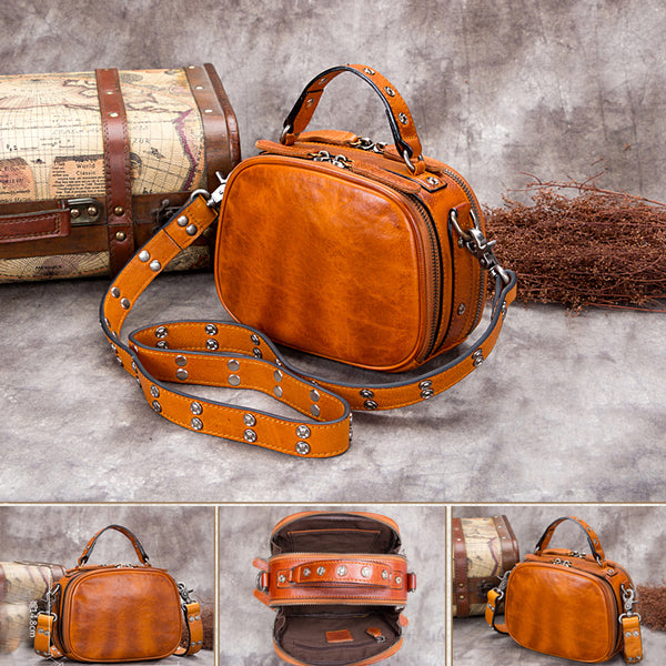 Genuine Leather Vintage Handbag Crossbody Shoulder Bags Purses Women