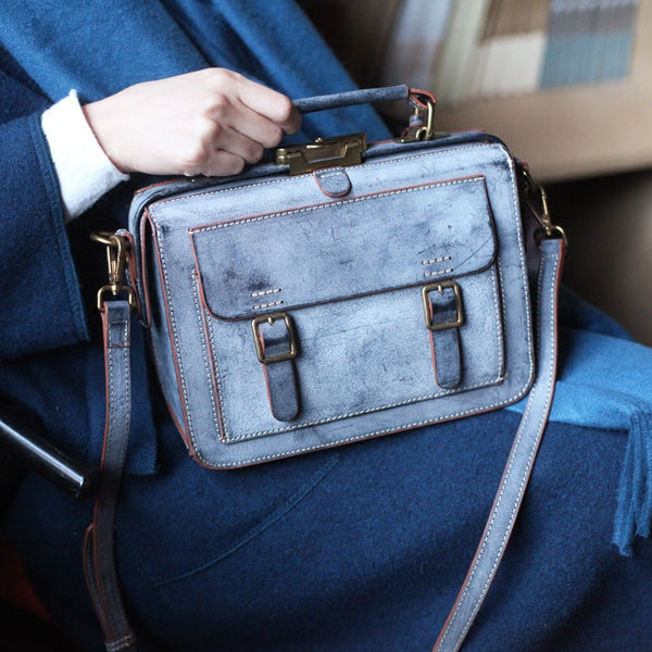 Genuine Leather Vintage Messenger Crossbody Satchel Bag Purses Women blue