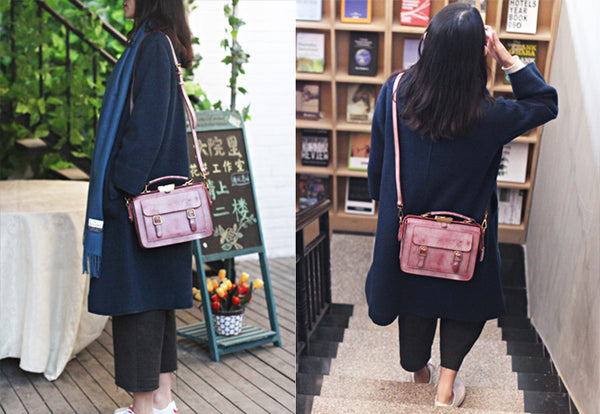 Genuine Leather Vintage Messenger Crossbody Satchel Bag Purses Women cute