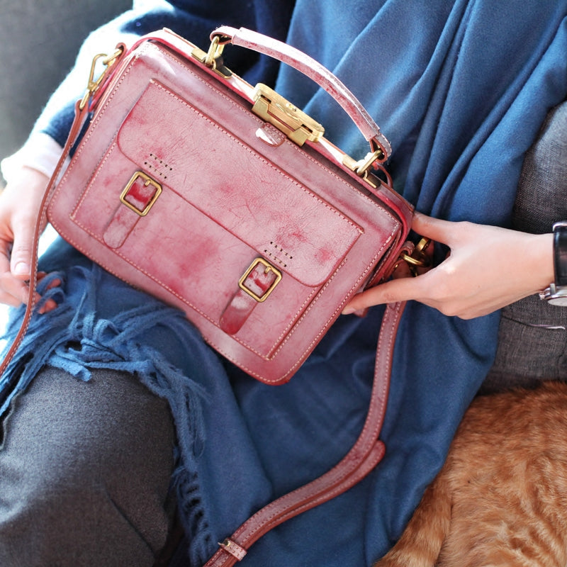 Genuine Leather Vintage Messenger Crossbody Satchel Bag Purses Women pink