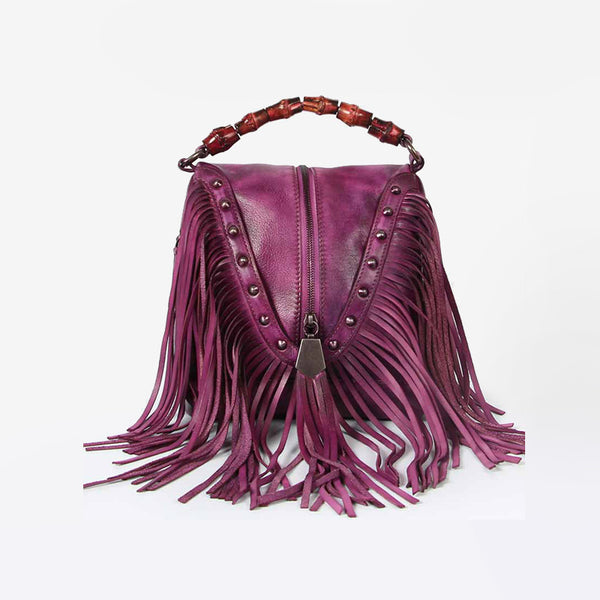 Genuine Leather Vintage Tassels Handbag Crossbody Shoulder Bags Women