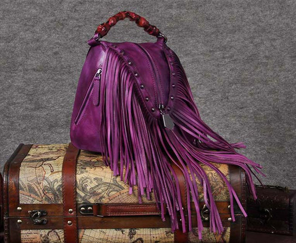 Genuine Leather Vintage Tassels Handbag Crossbody Shoulder Bags Women Purple