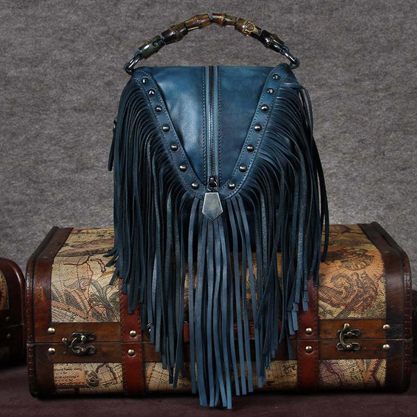 Genuine Leather Vintage Tassels Handbag Crossbody Shoulder Bags Women beautiful