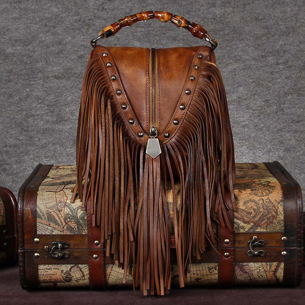 Womens Tassels Leather Handbags Boho Crossbody Bags Purse for Women