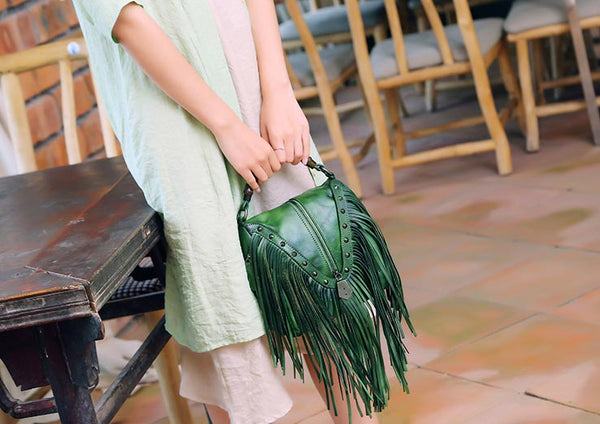 Genuine Leather Vintage Tassels Handbag Crossbody Shoulder Bags Women details
