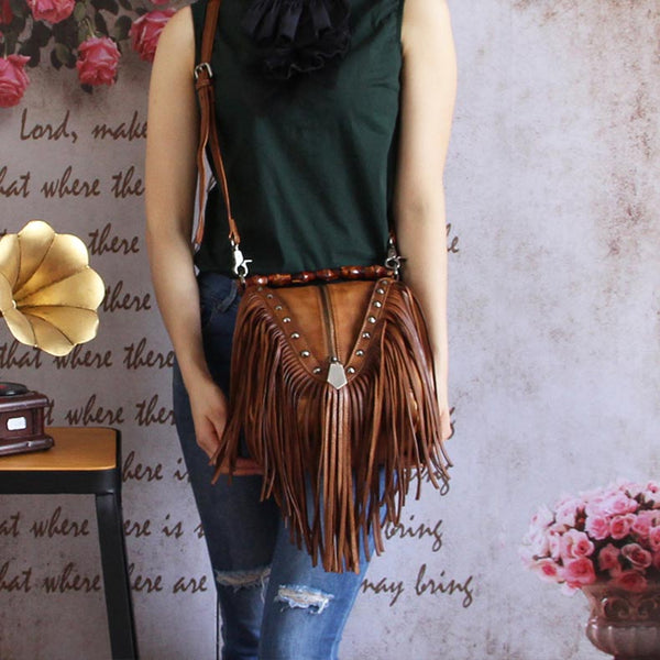 Genuine Leather Vintage Tassels Handbag Crossbody Shoulder Bags Women wear
