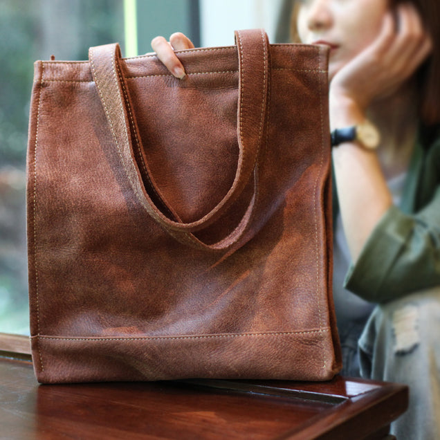 Genuine Soft Leather Tote Shoulder Bags Handbags Purses Women brown