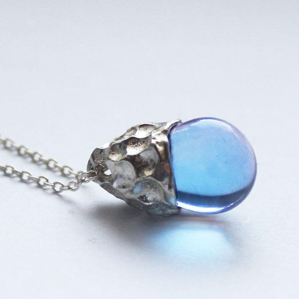 Glaze Crystal Pendant Necklace Sterling Silver Handmade Unique Jewelry Accessories Gift Women chic