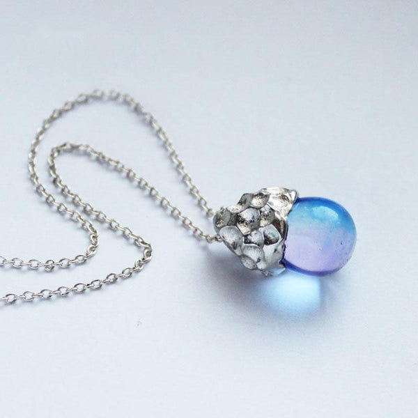 Glaze Crystal Pendant Necklace Sterling Silver Handmade Unique Jewelry Accessories Gift Women cute