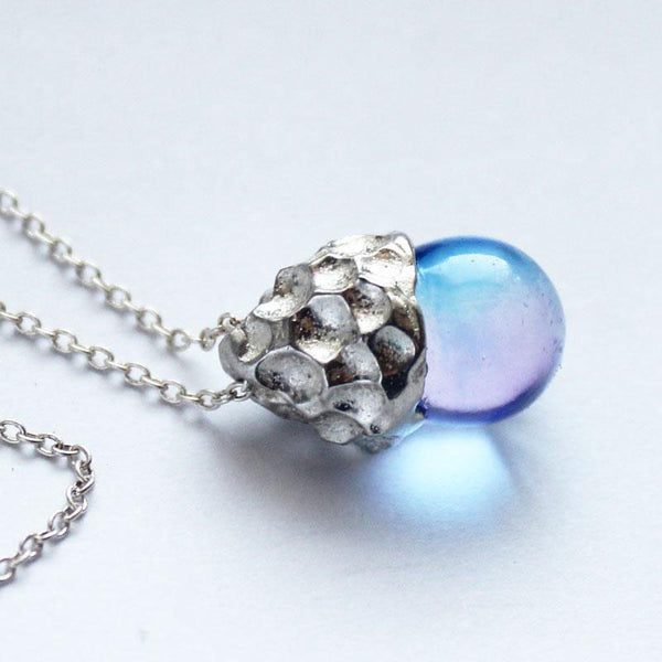 Glaze Crystal Pendant Necklace Sterling Silver Handmade Unique Jewelry Accessories Gift Women elegant