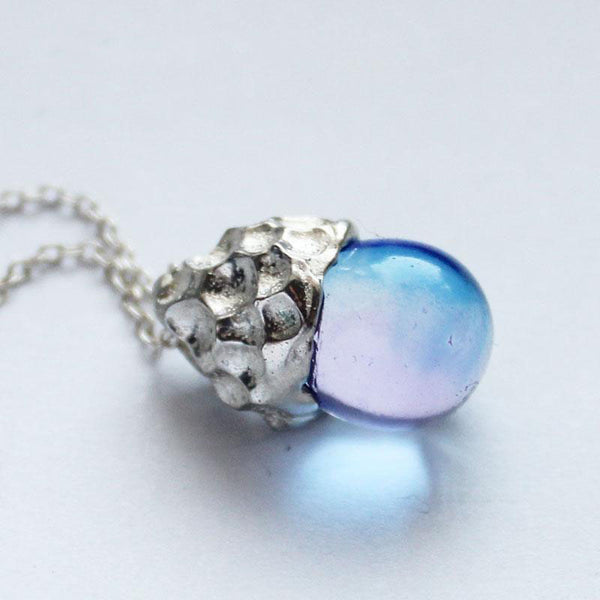 Glaze Crystal Pendant Necklace Sterling Silver Handmade Unique Jewelry Accessories Gift Women
