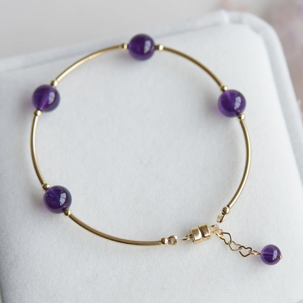 14K Gold Amethyst Bead Bracelet Handmade Jewelry Accessories Women