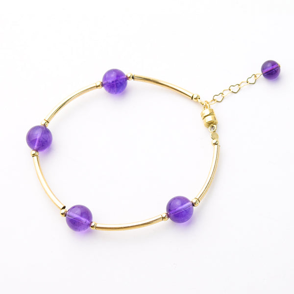 Gold Amethyst Bead Bracelet Handmade Jewelry Accessories Women front