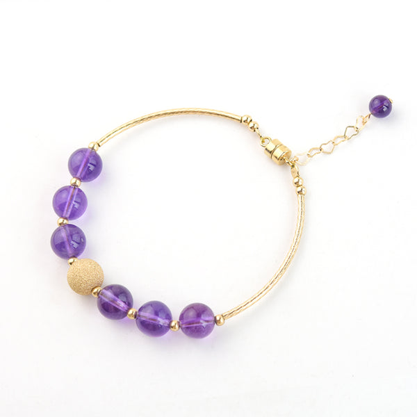 Gold Amethyst Bead Bracelet Handmade Jewelry Gifts Women