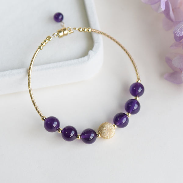 Gold Amethyst Beaded Bracelet Handmade Jewelry Gifts Women natural