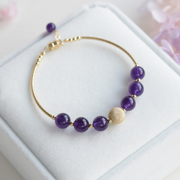 14K Gold Amethyst Beaded Bracelet Handmade Jewelry Gifts Women