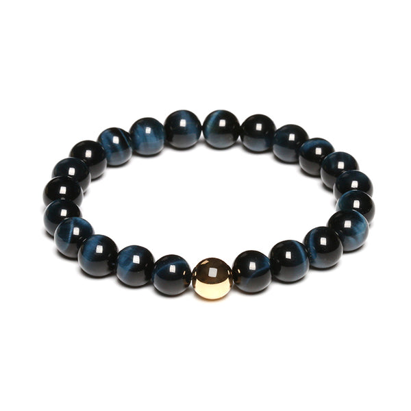 Gold Blue Tigereye Bead Bracelet Handmade Lovers Jewelry Accessories Women Men front