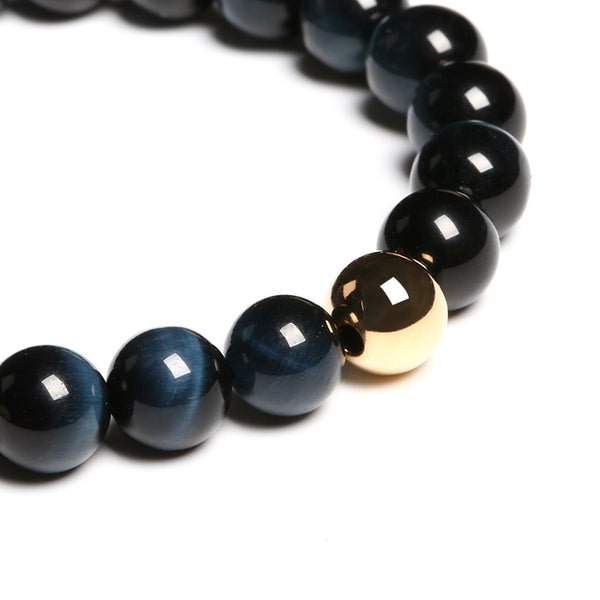 Gold Blue Tigereye Bead Bracelet Handmade Lovers Jewelry Accessories Women Men front sight