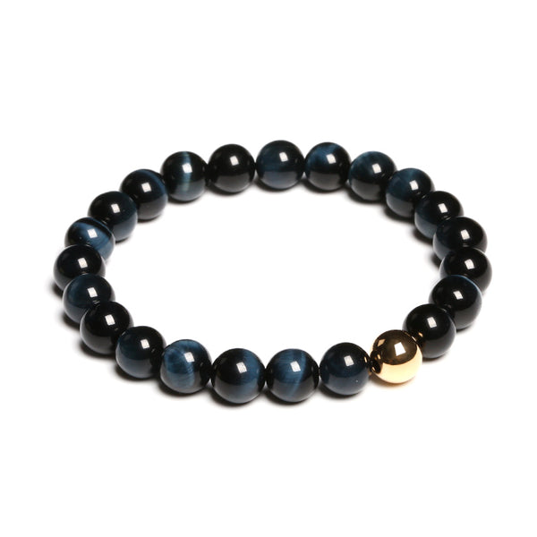 Gold Blue Tigereye Bead Bracelet Handmade Lovers Jewelry Accessories Women Men front side