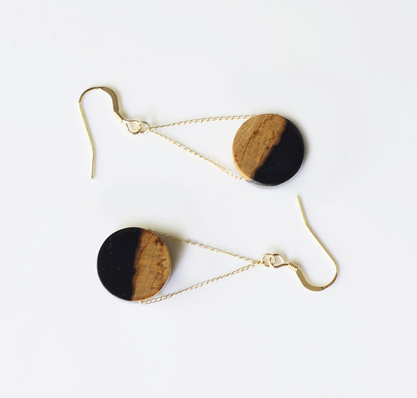 14K Gold Wood Drop Earrings Handmade Jewelry Accessories Women