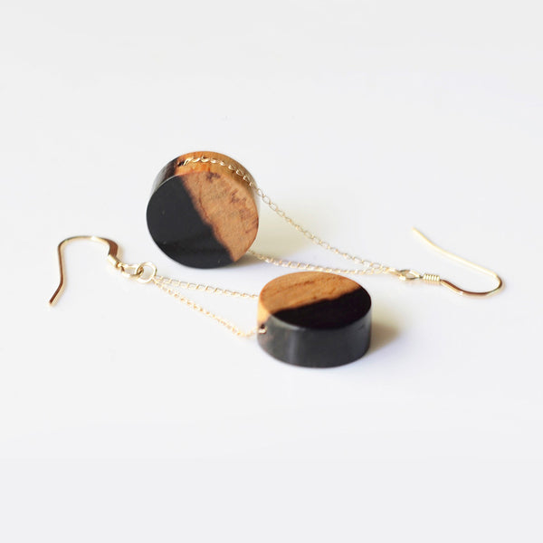 Gold Wood Drop Earrings Handmade Jewelry Accessories Women