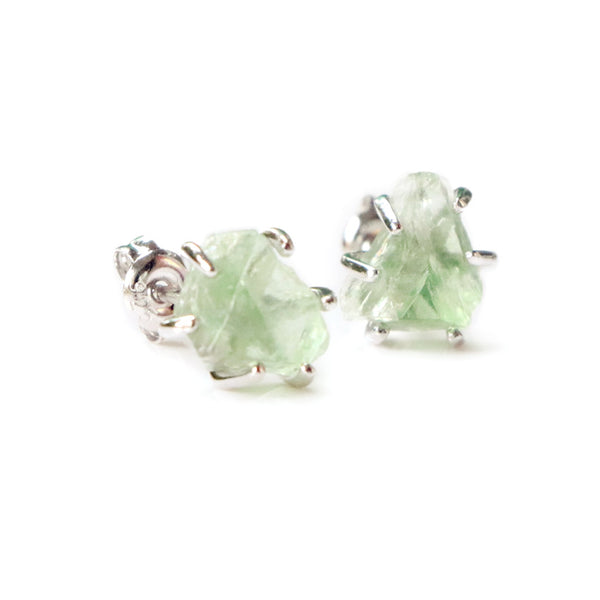 Natural Green Fluorite Stud Earrings in Sterling Silver Handmade Jewelry Accessories Women