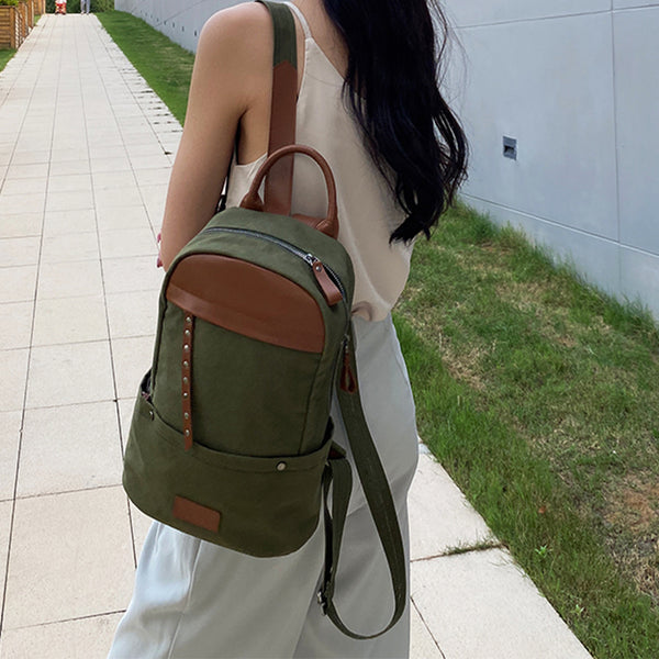 Green-Canvas-and-Leather-Backpack-Bag-Handmade-Canvas-Rucksacks-Travel-Backpack-for-Women-Chic