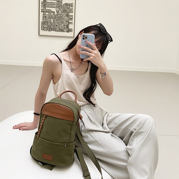 Green-Canvas-and-Leather-Backpack-Bag-Handmade-Canvas-Rucksacks-Travel-Backpack-for-Women-Cool