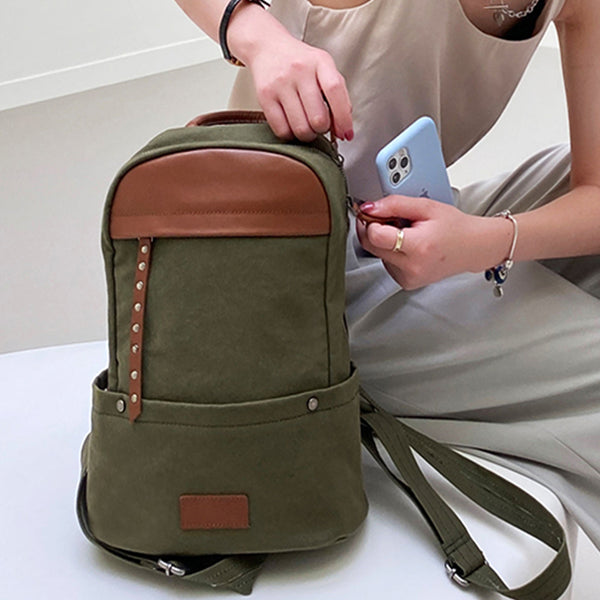 Green-Canvas-and-Leather-Backpack-Bag-Handmade-Canvas-Rucksacks-Travel-Backpack-for-Women-Cute