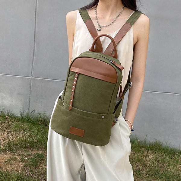 Green-Canvas-and-Leather-Backpack-Bag-Handmade-Canvas-Rucksacks-Travel-Backpack-for-Women-Designer