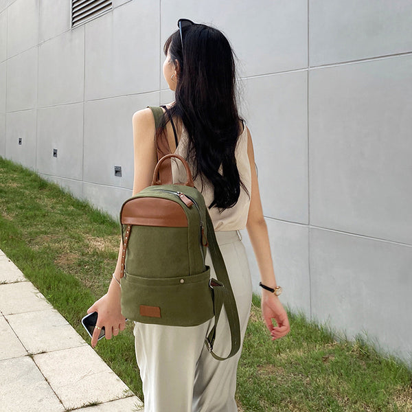 Green-Canvas-and-Leather-Backpack-Bag-Handmade-Canvas-Rucksacks-Travel-Backpack-for-Women-Durable
