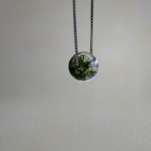 Green Garden Crystal Bead Pendant Necklace Sterling Silver Jewelry Accessories Women beautiful
