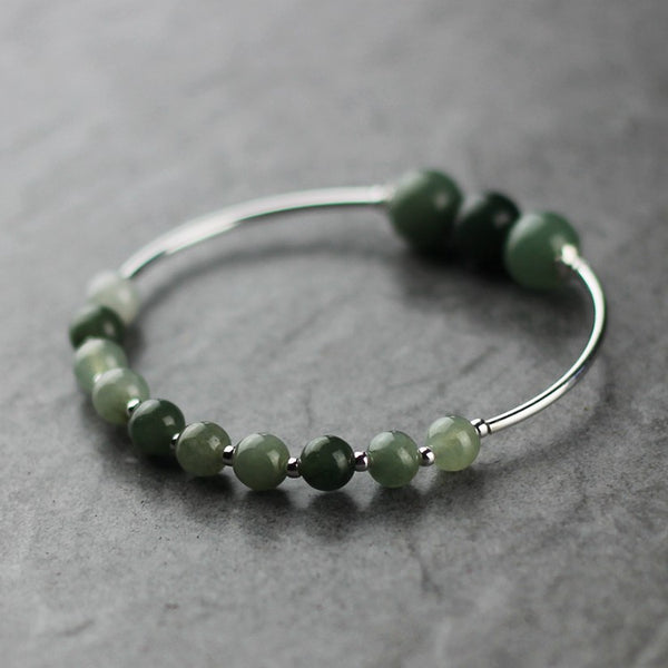 Green Jade Beaded Bracelet Handmade Gemstone Jewelry Accessories Gifts Women beautiful