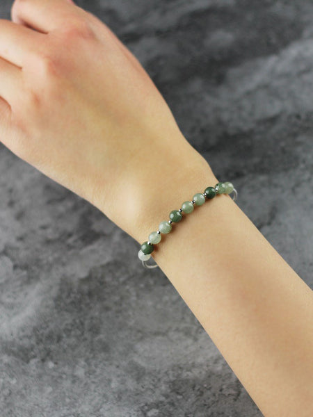 Green Jade Beaded Bracelet Handmade Gemstone Jewelry Accessories Gifts Women cute