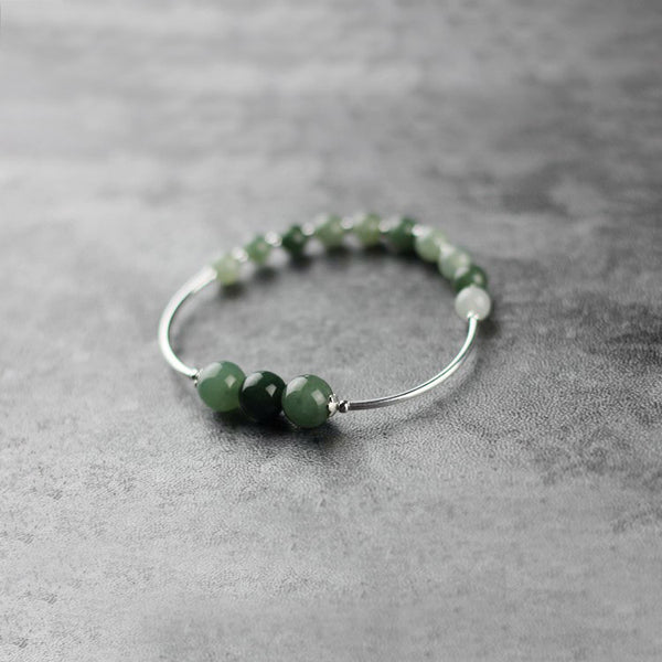 Green Jade Beaded Bracelet Handmade Gemstone Jewelry Accessories Gifts Women elegant