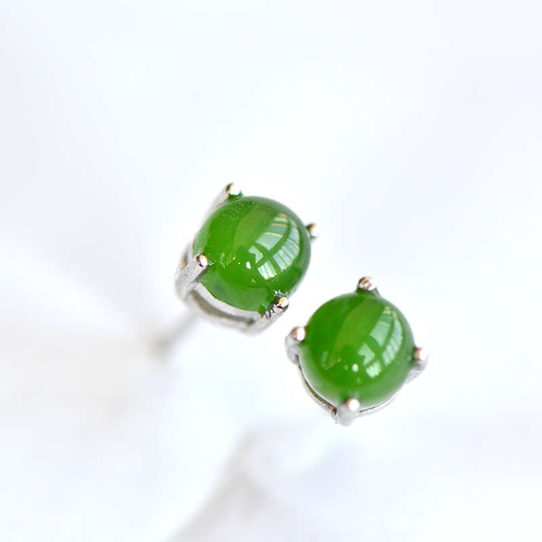 Green Jade Stud Earrings Silver Handmade gemstone Jewelry Accessories Gifts Women adorable