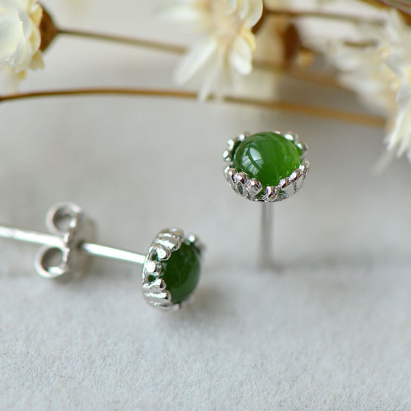 Green Jade Stud Earrings Silver Handmade gemstone Jewelry Accessories Gifts Women charming