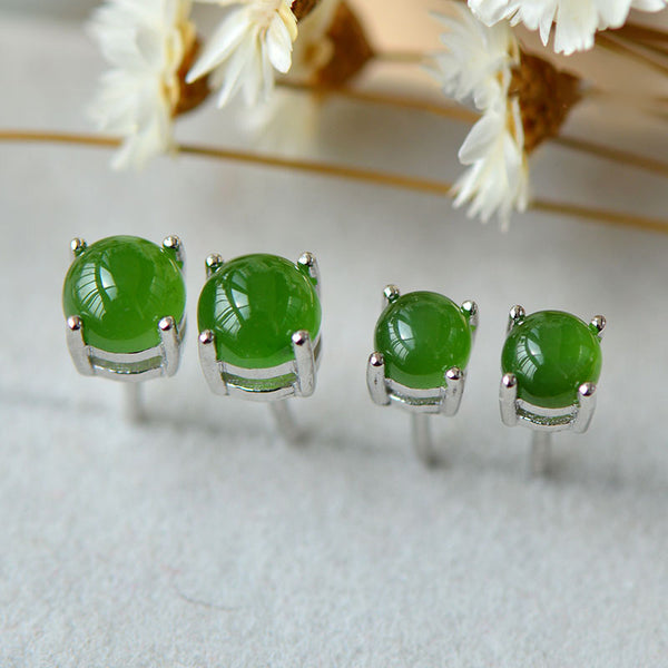 Green Jade Stud Earrings Silver Handmade gemstone Jewelry Accessories Gifts Women cute