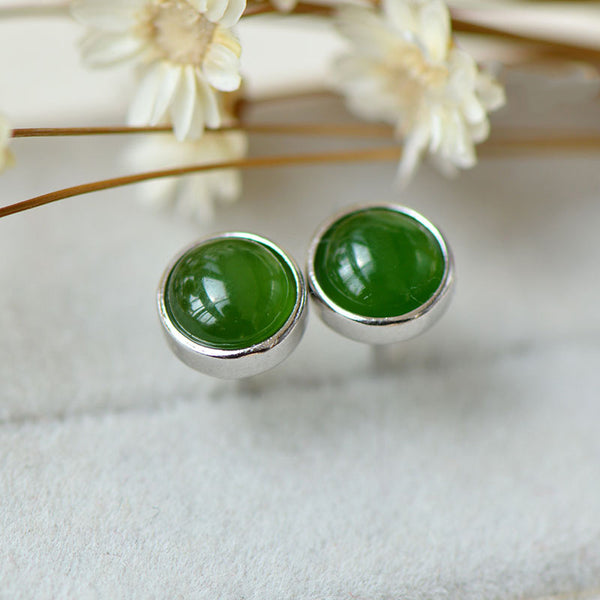 Green Jade Stud Earrings Silver Handmade gemstone Jewelry Accessories Gifts Women good jewelry