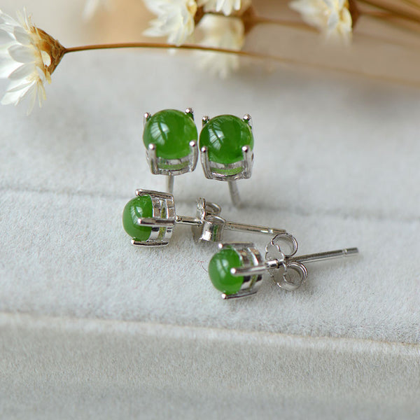 Green Jade Stud Earrings Silver Handmade gemstone Jewelry Accessories Gifts Women natural