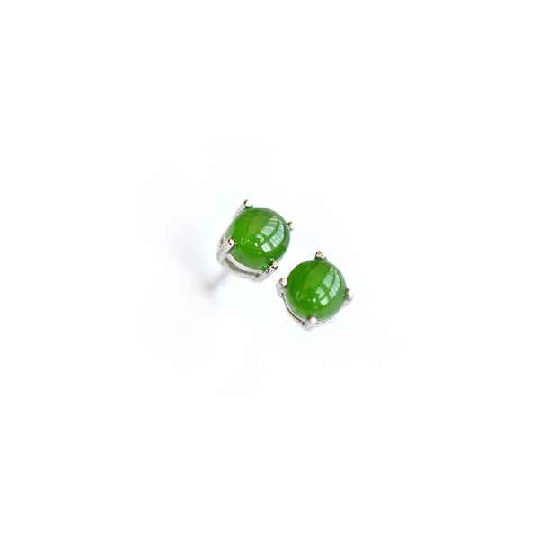 Green Jade Stud Earrings Silver Handmade gemstone Jewelry Accessories Gifts Women