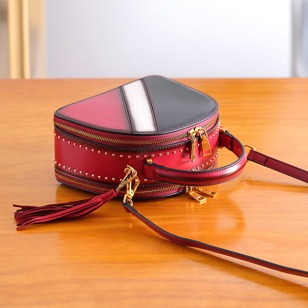Half Round Red Leather Crossbody Bags Shoulder Bag Purses for Women Accessories