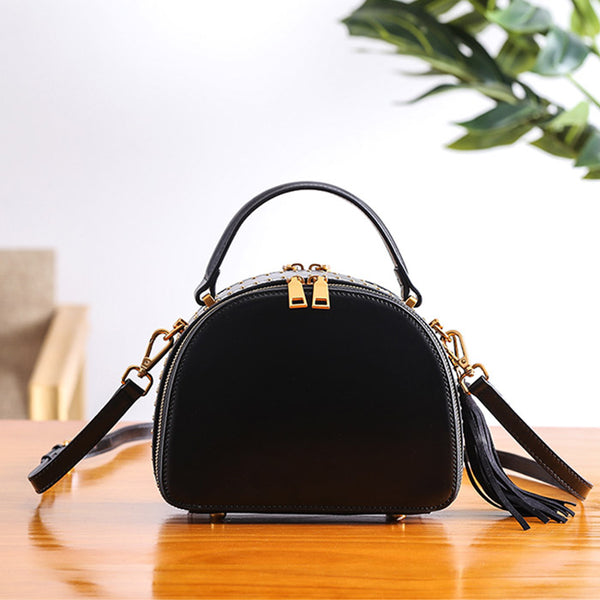 Half Round Red Leather Crossbody Bags Shoulder Bag Purses for Women Black