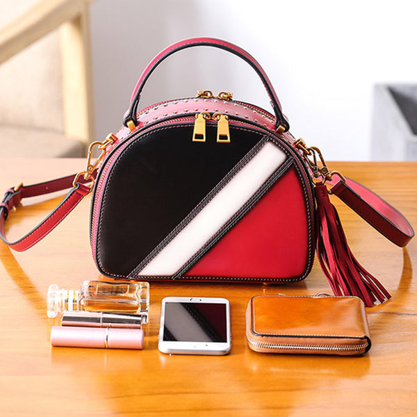 Half Round Red Leather Crossbody Bags Shoulder Bag Purses for Women Boutique