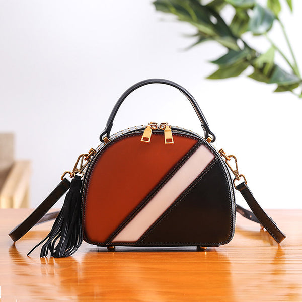 Half Round Red Leather Crossbody Bags Shoulder Bag Purses for Women Brown
