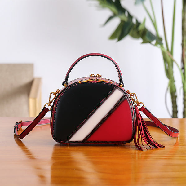 Half Round Red Leather Crossbody Bags Shoulder Bag Purses for Women Details